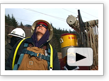 Tradeswomen Careers: The Lineworker video thumbnail. Click image to start YouTube video (includes audio)